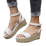 Women Gladiator Summer Sandals,❤️Maonet Women's Ladies Strap Ankle Buckle Platform Wedges Woven Sandals Roman Shoes 3cm-5cm (US:5, White)