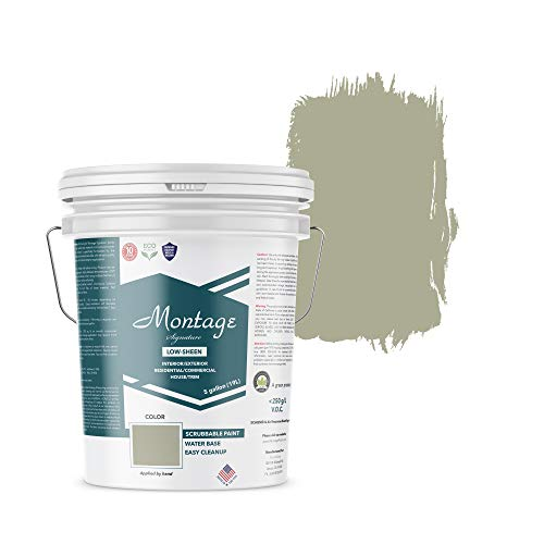 Flat Wall Paint Latex - Montage Signature Interior/Exterior Eco-Friendly Paint, Sage - Low Sheen, 5 Gallon