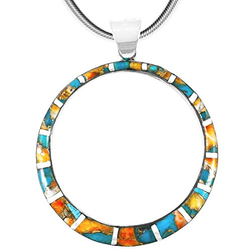 Gemstone Pendant Necklace in 925 Sterling Silver Genuine Turquoise Gemstones 24 Length