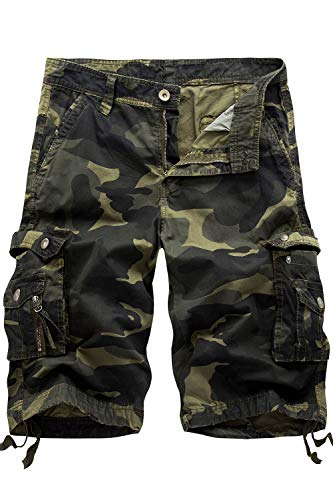 Camo Army Cargo Bdu Shorts - HHGKED Men's Twill Cargo Shorts (34, Dark Army Green)