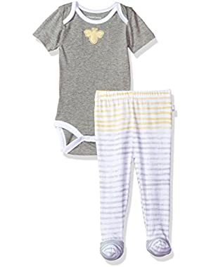 Baby Short Sleeve Organic Bodysuit and Footed Pant