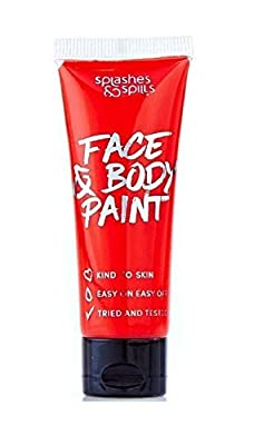 Face and Body Paint Cream - Red, 30ml - Pretend Costume and Dress Up Makeup by Splashes & Spills