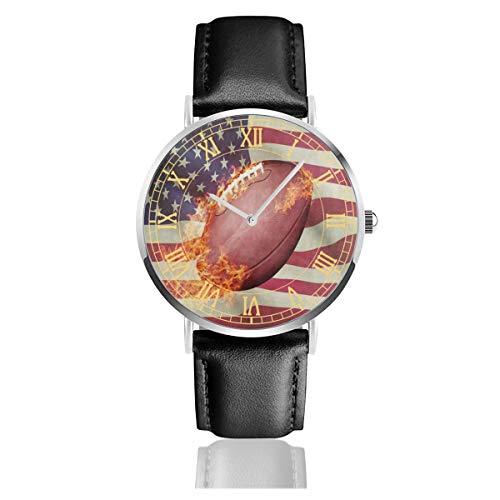 (American Football Ball Sport Fire Mens Watches Leather Bands Chronograph Waterproof Analog Quartz Watch Clock Date Sport Business Wristwatch 38mm/1.5