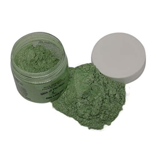 Slice of the Moon: Peak Green Mica Powder 28g, Natural Mineral Mica, Cosmetic Grade For Lipstick Lip gloss Bath Bombs Epoxy Resin Face Blush Powder Eye pencil Dye Pigments Candle Making