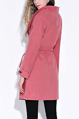 La Solides Femmes Ceinture Cols Les Oversize Tenue De Trenchcoat Corset Extérieur Pink D'hiver wqtvqAFT