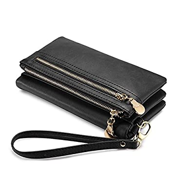 Women RFID Blocking Leather Wallet Large Capacity Clutch Coin Phone Card Organizer with Wristlet Strap