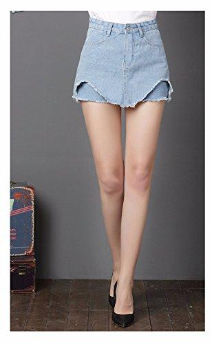 Mini Crayon Asymtrique Clair Short Courte Sexy Oudan Jean Femme Bleu en Jupe Haute Slim Taille fEx1q84w