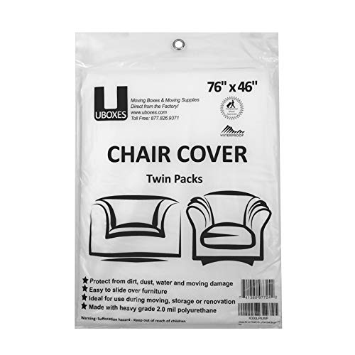 uBoxes Chair Protective Poly Covers, 72 x 46 inch, 2 Pack (Best Way To Wrap Chairs For Moving)