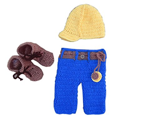 Pinbo Newborn Boys Construction Set Hard Hat Pants Work Boots Tools Photography Prop