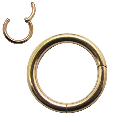 NewkeepsR 14G 8mm(5/16'') Rose Gold Anodized 316L Surgical Steel Septum Hinged Clicker Segment Lip Helix Daith Cartilage Tragus Lobe Snug Rook Orbital ()