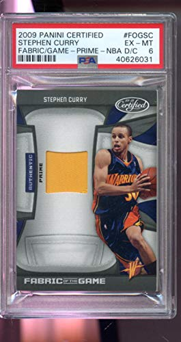 2009-10 Panini Certified Fabric Of The Game Stephen Curry Jersey Prime 23/25 ROOKIE RC Steph Stef NBA EX-MT PSA 6 Graded Basketball Card