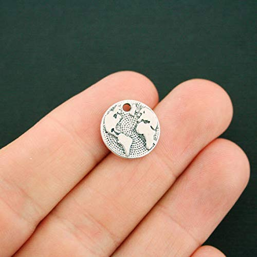 Globe Charm - 10 Globe Charms Antique Silver Tone Earth Great Detail for Jewelry Making Bracelet Necklace DIY Crafts