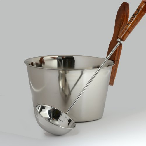 Luxury Finnish Sauna Bucket in Stainless Steel Including Matching Ladle