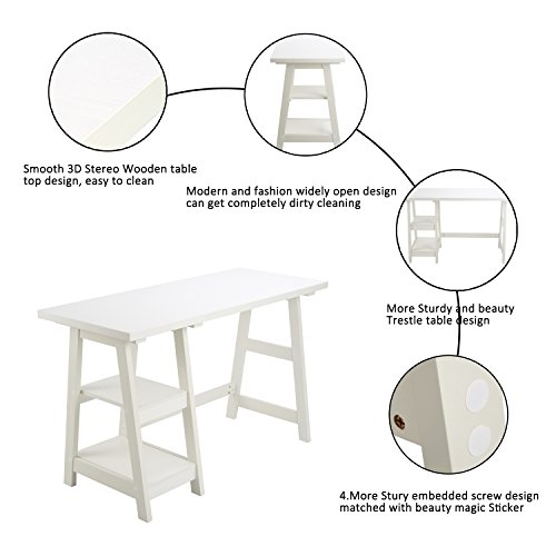 Amazon.com: Laptop Table Computer Desk Trestle Writing Table White Wood  Home Office Desk Hutch Credenza Workstation Studying Reading Desk With 2  Open Tiers ...