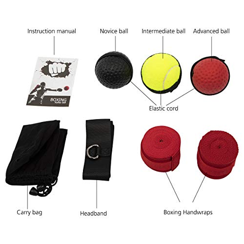ENUOSUMA Upgraded Boxing Reflex Ball, Boxing Training Ball, Mma Speed Training Suitable for Adult/Kids Best Boxing Equipment for Training, Hand Eye Coordination and Fitness.