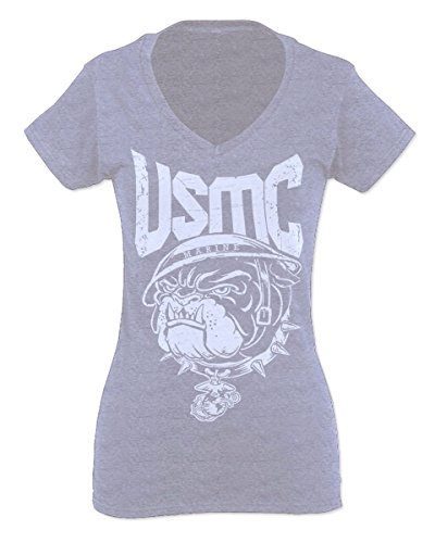 Bull Dog USMC Marine Corp USA American United America Seal for Women V Neck Fitted T Shirt (Light Gray X-Large) (T-shirt Bull Womens Light)