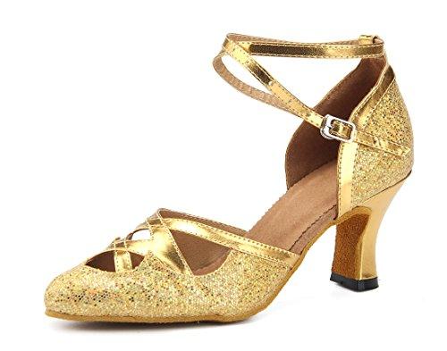 Tda Dames Puntige Teen T-strap Fashion Glitter Pu Leer Latin Dance Ballroom Tango Party Trouwpakjes Gold-7cm Hak