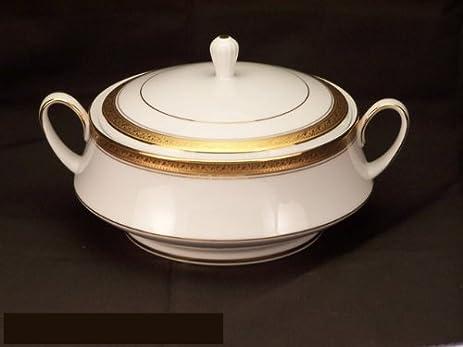 Amazon.com | Noritake Crestwood Gold Covered Vegetable Bowl: Serving ...
