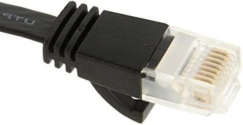 CAT6 Ultra-Thin Flat Ethernet Network LAN Cable Black 5m Length