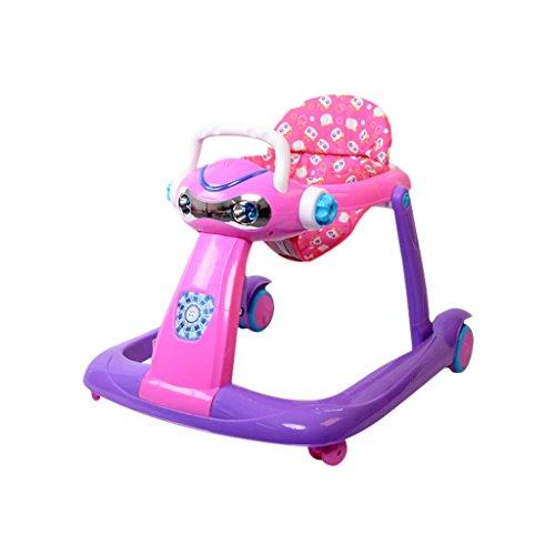 Baby Walker - Con Ruedas Multifunción Niño Anti-Rollover Bebé One-Touch Plegable Baby Walker Aprende A Manejar 3Rd Gear Ajustable,Purple
