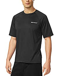 Baleaf Men's Short Sleeve Solid Sun Protection Rashguard Swim Shirt UPF 50+