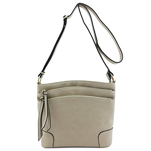 Zipper Crossbody Triple Dove Medium Pocket Bag 1UHnvqHx