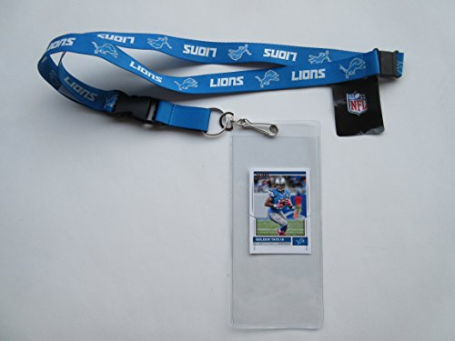 DETROIT LIONS LANYARD WITH TICKET HOLDER PLUS COLLECTIBLE PLAYER CARD