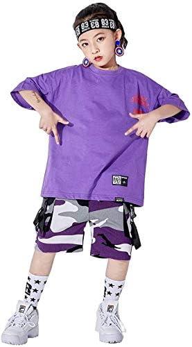 ダンス 衣装 キッズ ヒップホップ 男の子 女の子 Tシャツ 迷彩柄 パンツ ゆったり サルエル ダンスウェア HIPHOP ジャズダンス ステージ衣装 練習着 演出服 お揃い 発表会 練習着 野球 運動着 (トップス+パンツ,130)