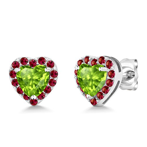 Gem Stone King 925 Sterling Silver 1.42 Ct Heart Shape Green Peridot Red Created Ruby Earrings
