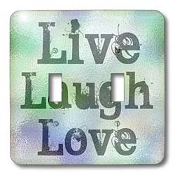 3dRose lsp_37953_2 Stained Glass Live, Laugh, Love- Inspirational Words- Motivational Double Toggle Switch