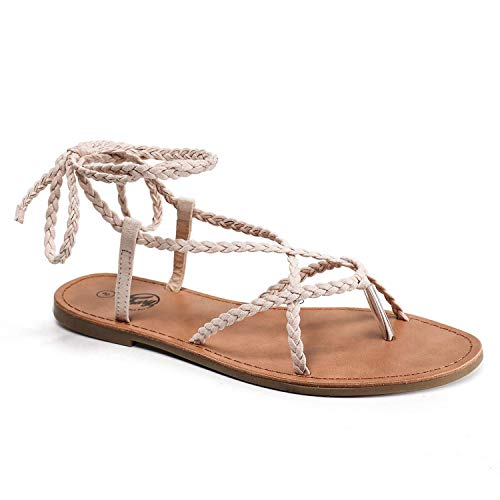 Trary Braid Lace up Sandal for Women Nude Pink 075