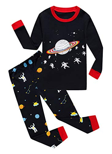 Family Feeling Space Little Boys Long Sleeve Pajamas 100% Cotton Pjs Toddler Sleepwears Size 5 (Long Pjs Sleeve Pajamas)