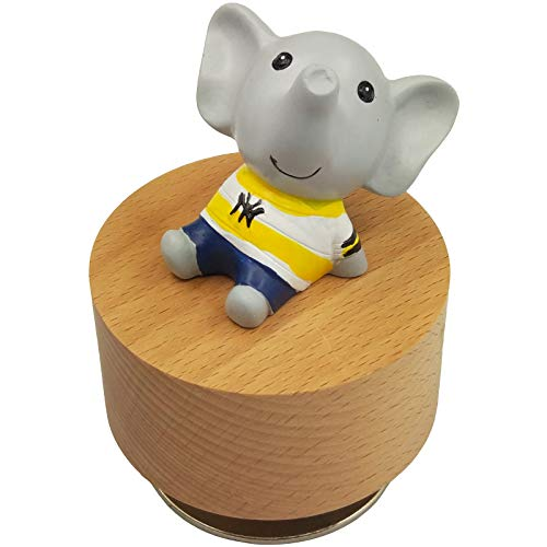 falado Mini Wooden Animal Rotary Music Box with Cute Elephant Ornament (Tune: You are My Sunshine) (Elephant Wooden Ornaments)