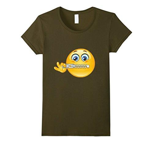 Womens Official:Zipper-Mouth Face Emoji Costume T-Shirt- halloween Small (Zipper Face Costumes)