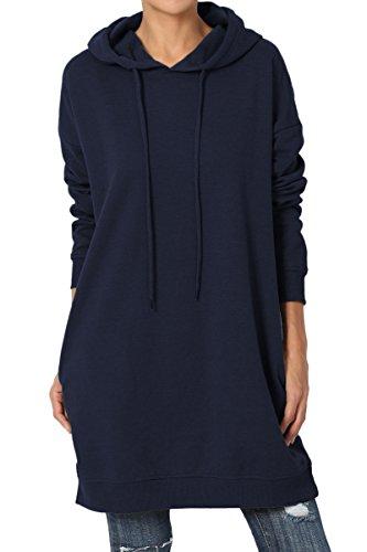 - TheMogan Women's Hoodie Loose Fit Pocket Tunic Sweatshirts Navy S/M