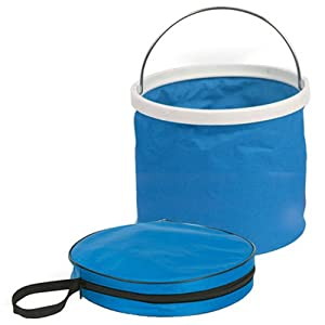 Camco Collapsible Bucket with Storage Case Durable Pop Up Bucket with Watertight Fabric, Holds 3 Gallons of Water Great for RVs, Camping, Fishing, Boating, Hiking and More Blue (42993)