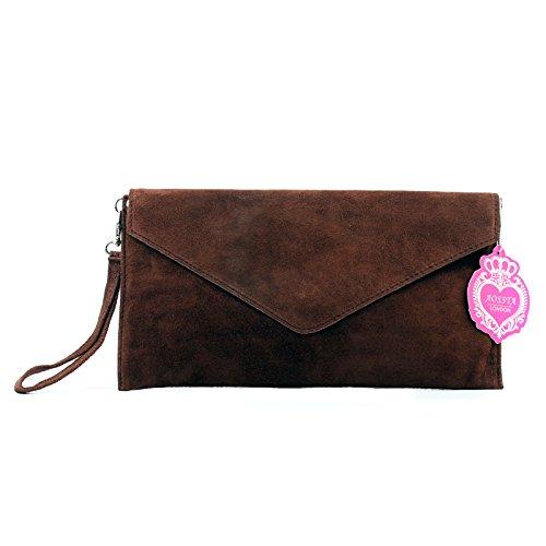 Aossta Italian Suede Large Envelope Shaped Clutch Purse handbag Clutch Party Wedding Bag (V108-CF)