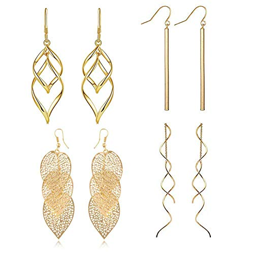 FAUOI Metal Geometric Style Gold Plated Earrings Bar Dangle Leaves Tassel Threader Drop Wave Earrings Set for Women (4PC)