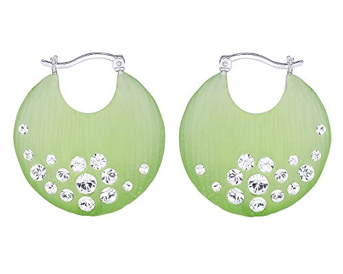 G&H Hand Crafted Green Lucite Silver Click-Top Hoop Earrings with Swarovski Crystals
