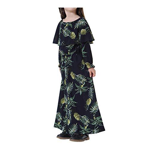 Xinvision Musulmans Islamic Sud-filles Asiatiques Caftan Robe Maxi - Longueur Motif D'ananas À Manches Longues O-cou Volants De Style Hawaiien Abaya Noir