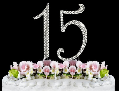 Rhinestone Cake Topper Number 15 by other