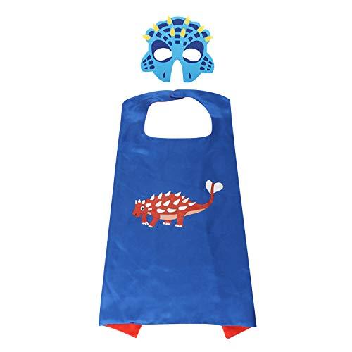 Zooawa Cartoon Dress up Costume, Imitated Silk Dinosaur Cloak Cape Felt Mask for Carnival, Halloween, Kids Animal Pretend Theme Party, Blue