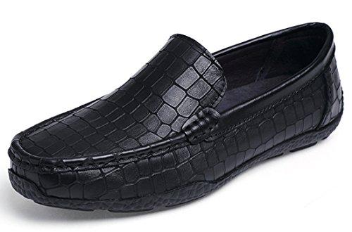 Tda Hombres Penny Loafers Boat Patrón De Cocodrilo Conducción De Cuero Walking Slip-on Zapatos Negro