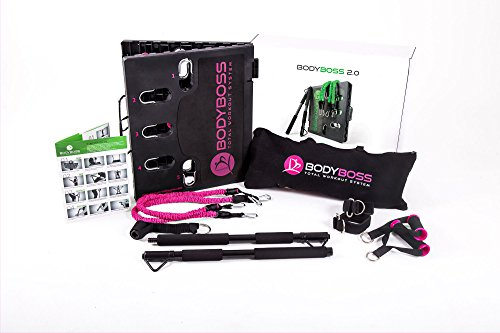BodyBoss Home Gym 2.0 – Full Portable Gym Home Workout Package + Set Of Resistance Bands – Collapsible Resistance Bar, Handles – Full Body Workouts For Home, Travel or Outside
