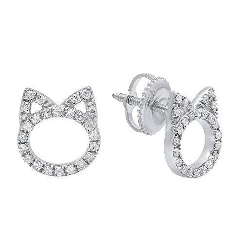0.25 Carat (ctw) Round White Diamond Ladies Cat Stud Earrings 1/4 CT, Sterling Silver