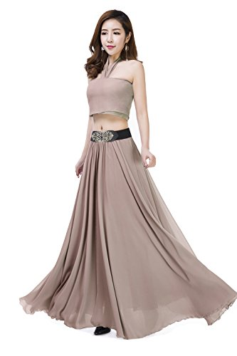 Women Summer Chiffon High Waist Pleated Big Hem Full/Ankle Length Beach Maxi Skirt(Medium/Khaki)