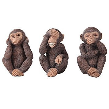 See, Hear, Speak No Evil Monkey Shelf Sitter Computer Top Sitters Chimpanze