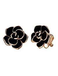 VOGEM Black Rose Earrings Clips 18K Rose Gold Plated Enamel Flower Clip On Earrings For Women