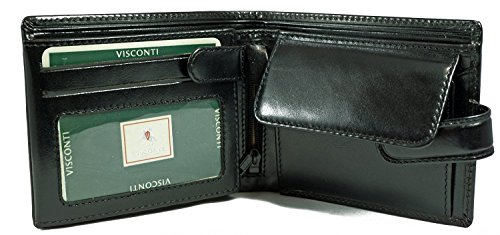 - Visconti Monza 5 Quad Fold Soft Leather Italian Glazed Wallet (Black)