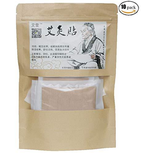 Moxibustion patch Natural Herb Self-Heating smokeless Wormwood sticker Artemisia mugwort moxa Pads chinese medicine herbal Paste of (10 Packs)